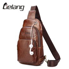 LIELANG 2017 New Genuine Leather Men Shoulder Bag Casual Cowhide Leather Men's Crossbody Bags Travel Chest Pack Men Bags