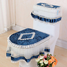 High Grade Lace Three-piece Set Toilet Seat Cover U-shaped Overcoat WC Cover Home Decor Bathroom Toilet Mats closestool merletto(China)