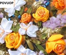 POVUOP Лента вышивка 50X60 см лили роуз изысканный 3d печати большие картины бриллиантового креста(China)