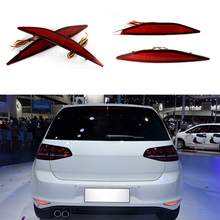 For VW Golf 72013-2015 Car Accessories LED Red Rear Bumper Reflector Stop Brake Fog Light Turn Signal Night Driving Tail Lights(China)