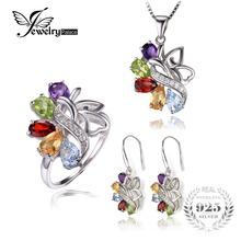 JewelryPalace Natural Amethyst Garnet Peridot Citrine Blue Topaz Gemstone Jewelry Set Solid 925 Sterling Sliver Fine Jewelry