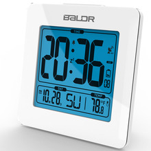 BALDR Atomic Blue Backlight Calendar Temperature Display Table Modern Desktop Time Watch Digital Alarm Snooze Clock Thermometer