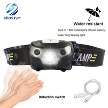 3000LM Mini Rechargeable LED Headlamp 3000Lm Body Motion Sensor Headlight Camping Flashlight Head Light Torch Lamp With USB