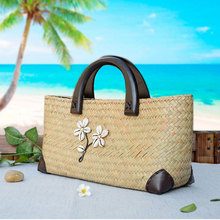 New] Thailand imported straw bag fresh shell beach hand woven handbag rattan bag 94214