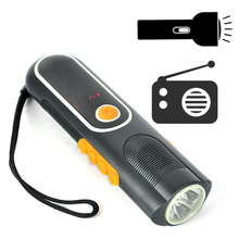 3 IN 1 Emergency Hand Power LED Flashlight with AM/FM Radio Rechargeable LED Flash light Torch Phone Power bank For Hiking