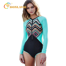 One Piece Swimsuit Long Sleeve Swimwear Women 2017 Floral Printed Bathing Suit Trikini Women's Swimming Suit Surfing Suit(China)