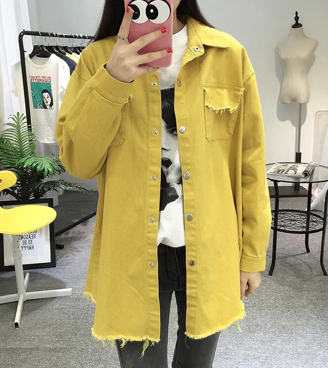 2018 Spring Autumn New Long Section Lapel Tassel Denim Jackets Women Loose Casual Long Sleeve Female\'S Thin Basic Jacket Coats (30)