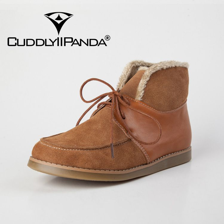 CUDDLYIIPANDA Women Fashion Handmade Martin Boots Vintage Style Genuine Leather Soft Outsole Comfortable Women Ankle Snow Boots<br>