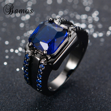 Bamos Male Blue Oval Ring High Quality Fashion Black Gold Filled Jewelry Vintage Wedding Rings For Men 2017 New Year Gifts