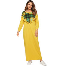 Woman Long Dress Spring 2019 Elegant Ladies Plaid Ruffles Patchwork Yellow  Maxi Dresses Loose Casual Muslim Arabian robe Plus 3df0b6b98954