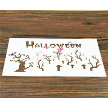 1PC Halloween Horror Cemetery Printing Mold Environmental Baking Tools Cake Sugar Powder Screen Spray Flower Mold(China)