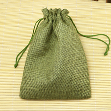 10*14cm 100pcs Plain olive green linen jute bag drawstring necklace jewelry package bag small gift bag Wedding packaging bag(China)