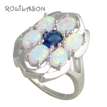 Luxury design six pieces Opals Inlay White fire Opal Silver Stamped Rings Blue Zircon fashion Jewelry USA Ring sz #6#7#8#9 OR652(China)