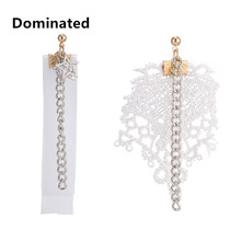 Dominated Women Fashion Simple Cloth Lace Earrings Asymmetry