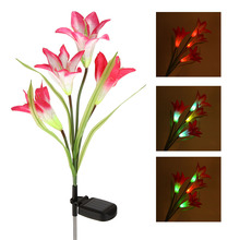 Outdoor Water Resistant Color Changing 4 LED Lily Flower Lamps Landscape Light Solar Power for Garden House Home Decoration(China)