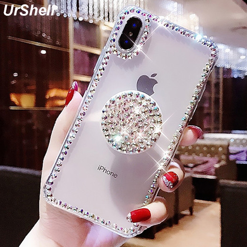Bling Clear Phone Case For iphone X 8 7 6 6S Plus XR XS MAX Thin Slim Transparent Diamond Stander Holder Cases For iPhone XS MAX(China)