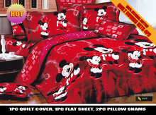 red color mickey minnie mouse bedding set DISNEY cartoon bedspread cotton bed duvet covers Children's bedroom decor Queen King