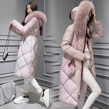 Women down jacket female large fur collar long winter coat slim design over-the-knee white duck down outerwear with a hood(China)