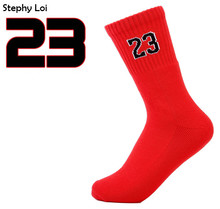 New Arrival Chicago Jordon Number 23, 52 men women basket ball elite terry cotton socks white black red(China)