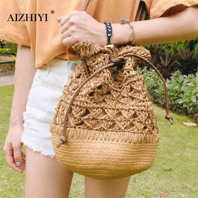 Women Crochet Straw Bucket Drawstring Crossbody Bag Summer Holiday Beach  Travel Totes Casual Shoulder Handbag Bags f3d9145f88