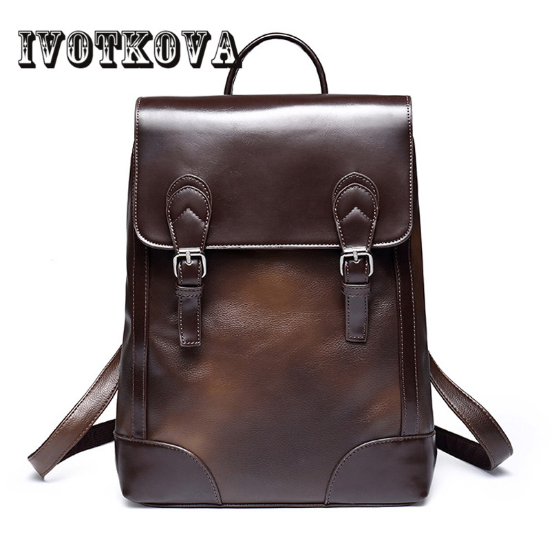 IVOTKOVA Brand New Arrival 2017 Male bags High Quality Fashion Men backpack PU Leather Backpack Big Capacity Men Travel Bags<br>