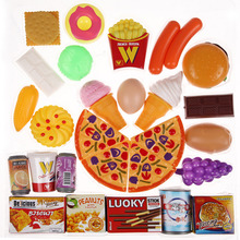 32pcs/set Kids Pretend Toys Pizza Cookies Hotdog Cream Fast Food Educational Classic Toy Pretend Play Kitchen Food Plastic Toy