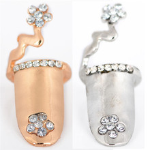 Fashion Dragonfly Flower Design Jewelry Rhinestone Fingertip Nail Rings for Women Wedding Finger Accessories