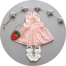 100% cotton infant girls bow dress girl outfits 2016 summer new Strawberry pattern casual 1y birthday vestido infantil - EF Children Clothes store