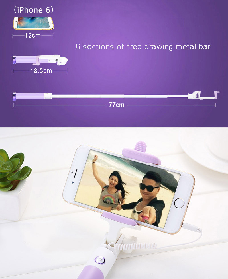 Mini Selfie Stick With Button Wired Silicone Handle Monopod Universal For iPhone 6 5 Android Samsung Huawei Xiaomi Sticks (2)
