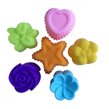 12pcs 3cm Cupcake Kitchen Rose/Heart/Star Flower Shape Silicone Baking Muffin Cup as Cake Decoration Tools for Cake Soap