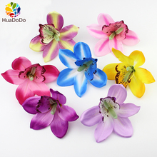 High Quality 12cm Artificial orchid flower heads ,silk Flowers for Wedding Party Banquet Decorative Flowers DIY 50pcs/lot(China)