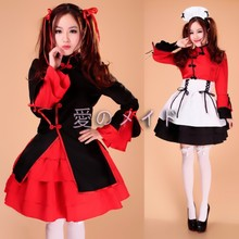 New Chinese style Red Black Women Sexy Japan Japanese Lolita Maid Dress Cosplay Costume Outfit