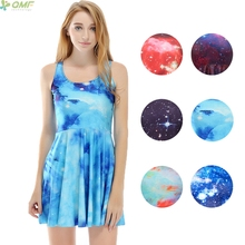 Space Galaxy Dress Breathable Women Sundress Colorful Aurora Reversible Skater Dresses Pleated Flaming Star Nebula Fashion Dress