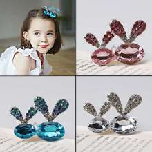 Buy Girls Novelty Crystal Rabbit Ears Hairpins Perfect Hair Clips Rhinestone Hair Accessories Kids Hairgrips Ornaments for $1.29 in AliExpress store