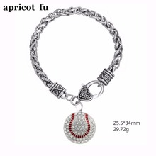 Custom Softball Pendant Pave Clear  Crystals Silver Lobster Clasp Wheat Chain Bracelet Jewelry