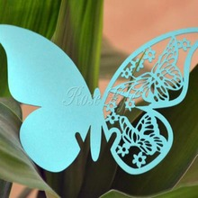 50 Pieces Table Mark Wine Glass Laser Cut Butterfly Name Place Cards for Wedding Party Decoration Products Supplies