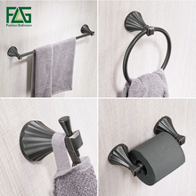 FLG Zinc-alloy Bathroom Accessories Set Single Towel Bar, Robe Hook, Paper Holder Oil Rubbed Bronze Bath Hardware Sets(China)