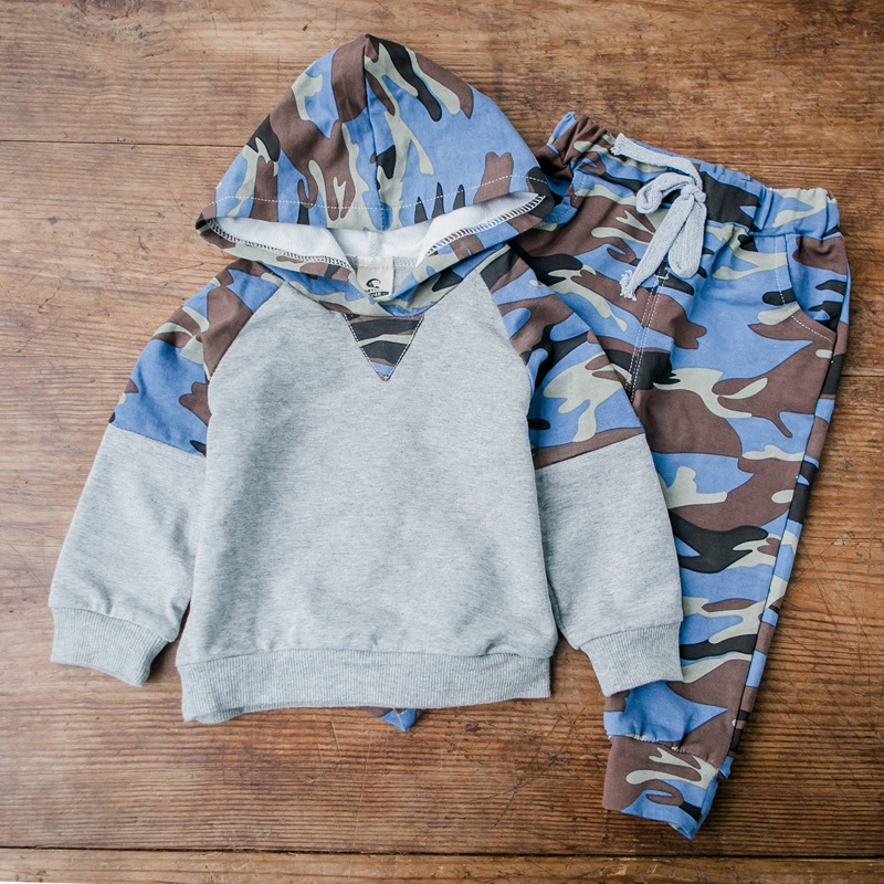 New spring cotton camouflage children clothes boy the boy sports group active girl dress suit hoodie + pants<br><br>Aliexpress