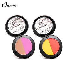 Naras Brand 2Colors Blush Makeup Mineral Blush Portable Blusher Palette Red Contour Bronzer for Beauty Cosmetics