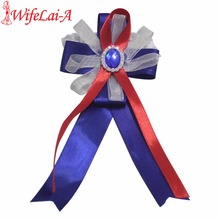 Wifelai-a Diamond Royal Blue Silk Wrist Flowers Groom Bride Marriage Wedding Ribbon Corsage in Red Thin Ribbon for Party SW2600(China)