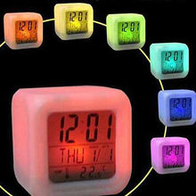 LED Color Change Digital Alarm Clock Projection Sync Thermometer Date Time Touch The Clock It Can Show The Light Flash