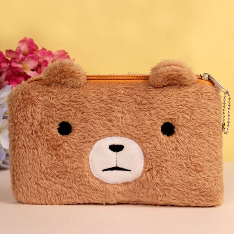 Bear pencil cases for girls Kawaii Plush panda pen bag stationery pouch kids gift school office supply Estuche 12