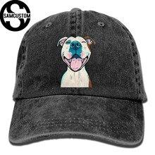 417abe6720f SAMCUSTOM pit bull 3D Creative personality Washed Denim Hats Autumn Summer  Men Women Golf Sunblock Hockey