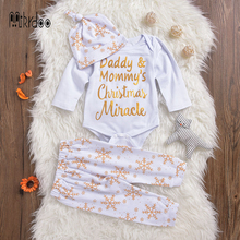 Baby boy girl clothes kids outfit toddler playsuit christmas clothing set cotton jumpsuit daddy mommy romper snow pants hat Best