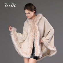 High Quality Autumn Winter Warm  Poncho Fake  Fur Hooded Long Knitted  Cape Cloak  Wool Cashmere Sweater Women's Cardigan Coat