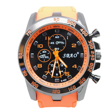 SBAO Stainless Steel Luxury Sport Analog Quartz Modern Men Fashion Wrist Watch Orange