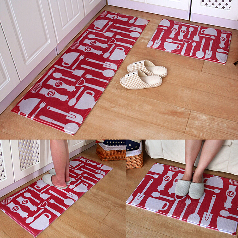 Ordinaire Red Tableware Pattern Doormat Kitchen Anti Slip Mats Rug
