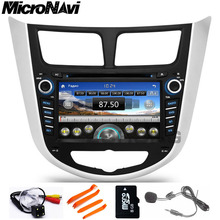 MicroNavi Russian menu CAR DVD player for Hyundai Solaris accent Verna i25 with 2 din navigation GPS Radio iPod-USB BT Free map(China)