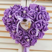 Wedding Christmas Holiday Decor Romantic Pearl Rose Wedding Favors Heart Shaped Gift Ring Box Ring Pillow