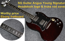 Good Cheap SG Custom Angus Young Guitar Ebony Fretboard AC/DC Inlaids Cherry Red Dark China Guitars Musical Instrument
